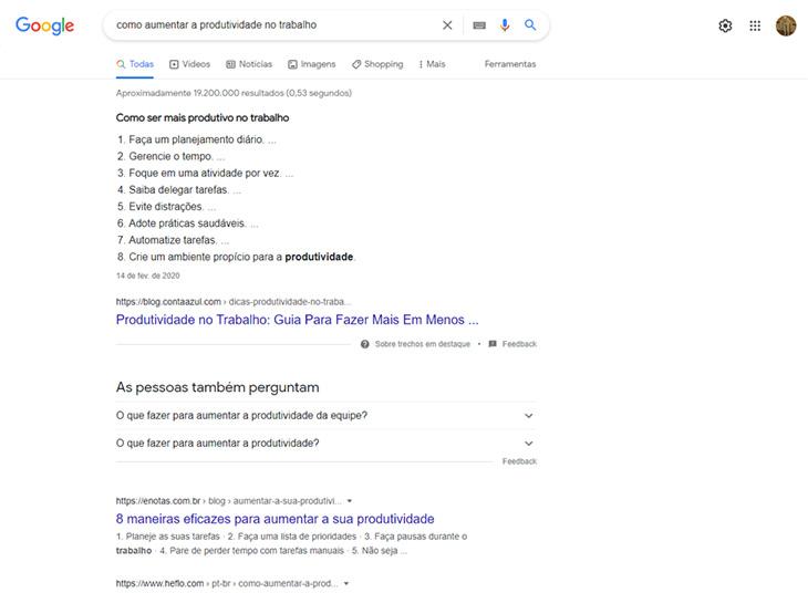 pesquisa no google sobre como aumentar a produtividade no trabalho