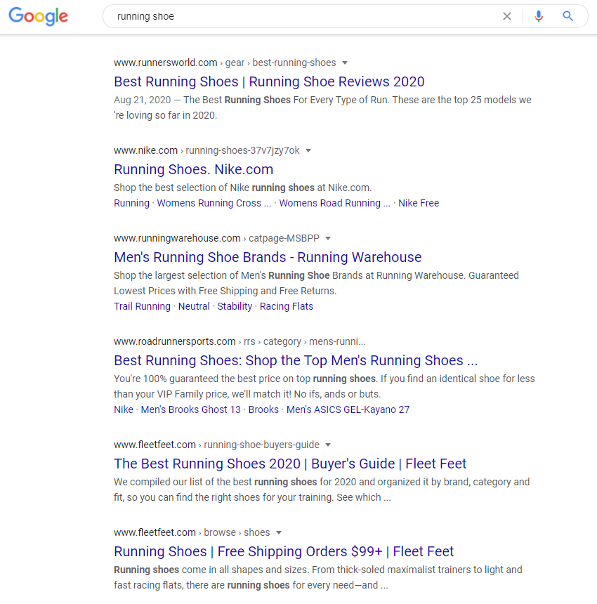 """Google search results of """"running shoe"""""""
