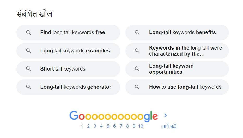 This image shows how to find LSI keywords