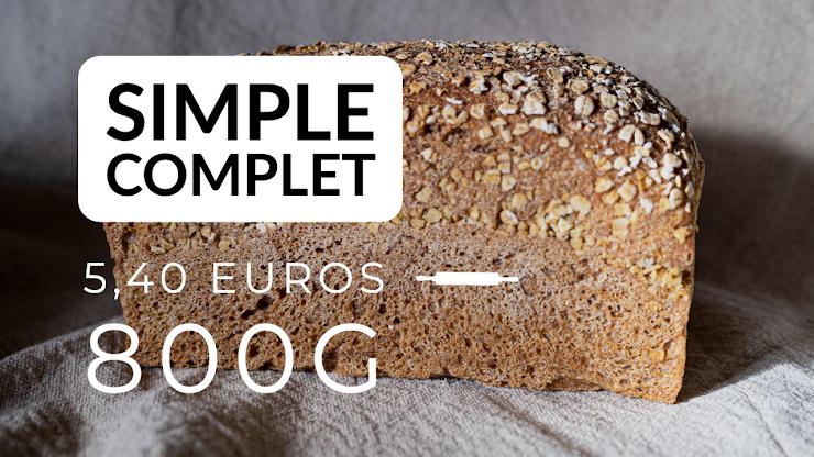 Ingrédients : farine de blé intégral fraichement moulue sur place en provenance d'agriculture bio, du levain naturel de seigle, sel de Guérande, eau.