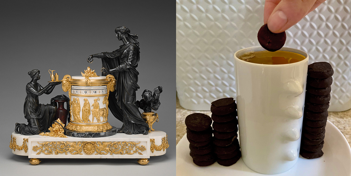 Left: Gold and white alter with two all-black figures. Right: A tall white mug with small chocolate-coated cookies.