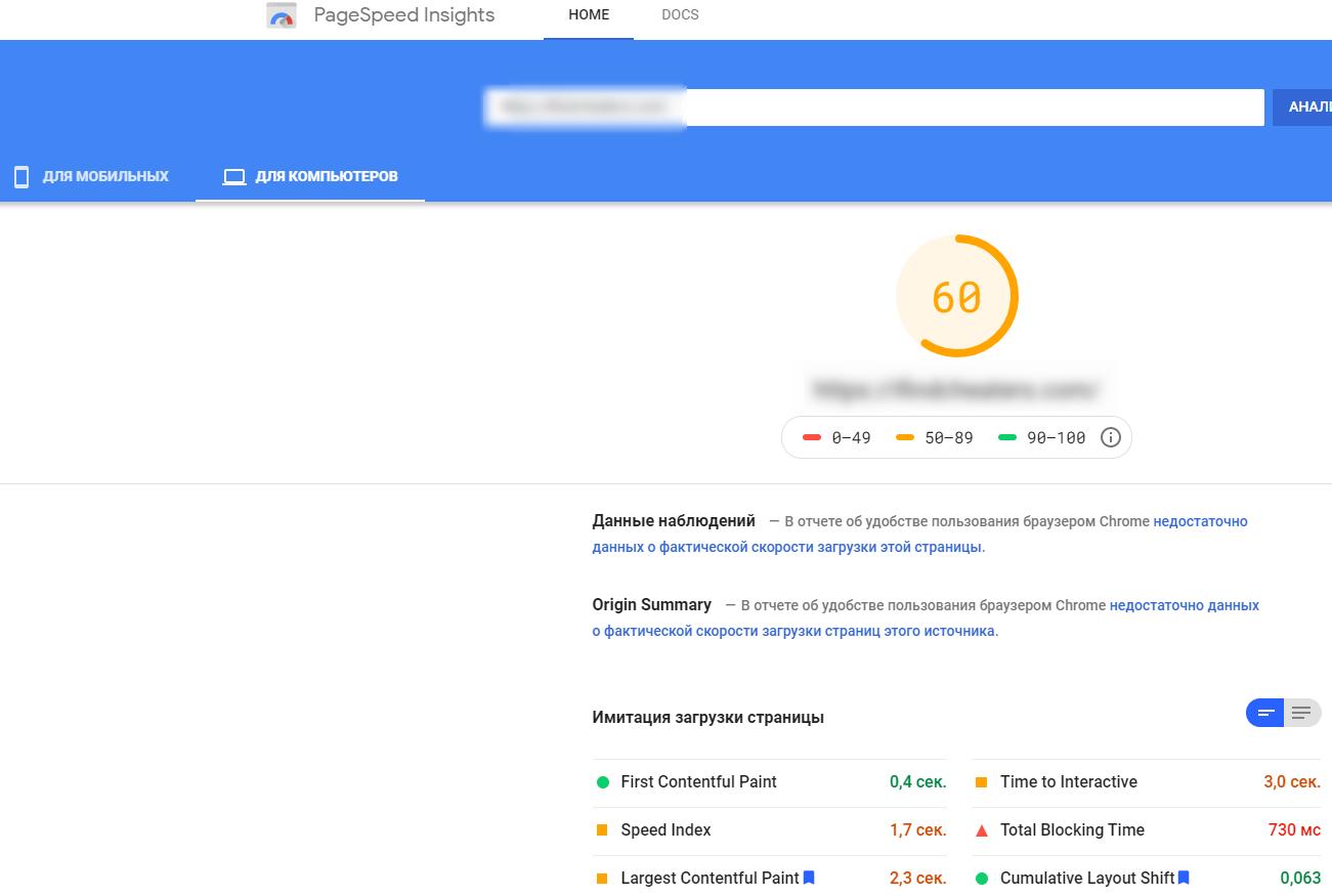 Результаты анализа PageSpeed Insights
