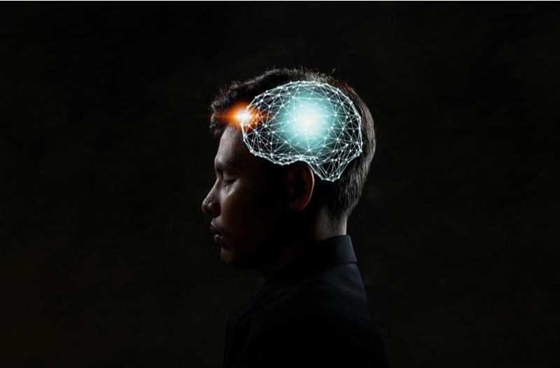 brain illustration for agile mindset over a business man's head
