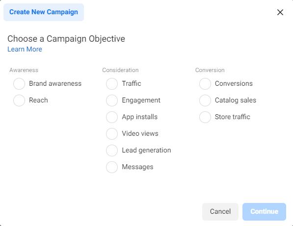 create a new Facebook campaign