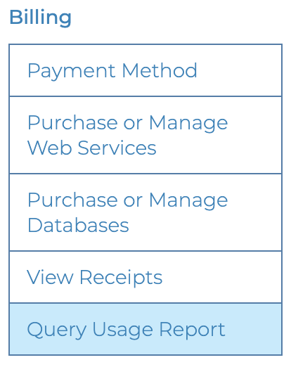 "You can query your usage by navigating to the ""query usage report"" action under the ""Billing"" menu."