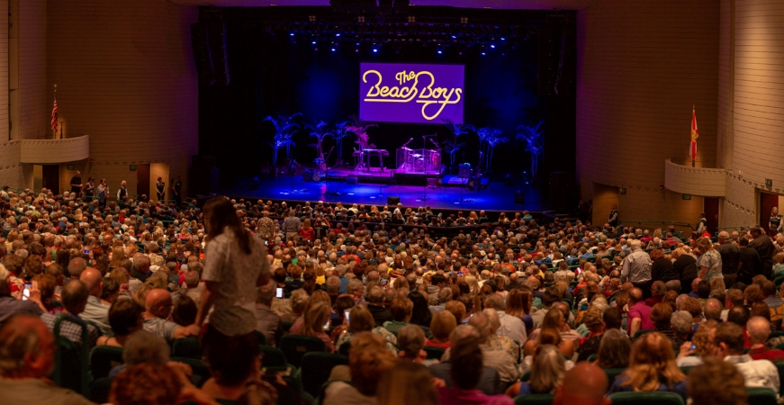 An audience awaits a performance by The Beach Boys at Ruth Eckerd Hall in Clearwater, FL.