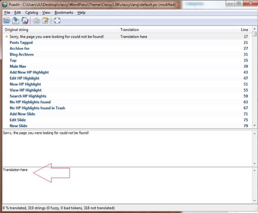 Translate the default.po File: theme translation