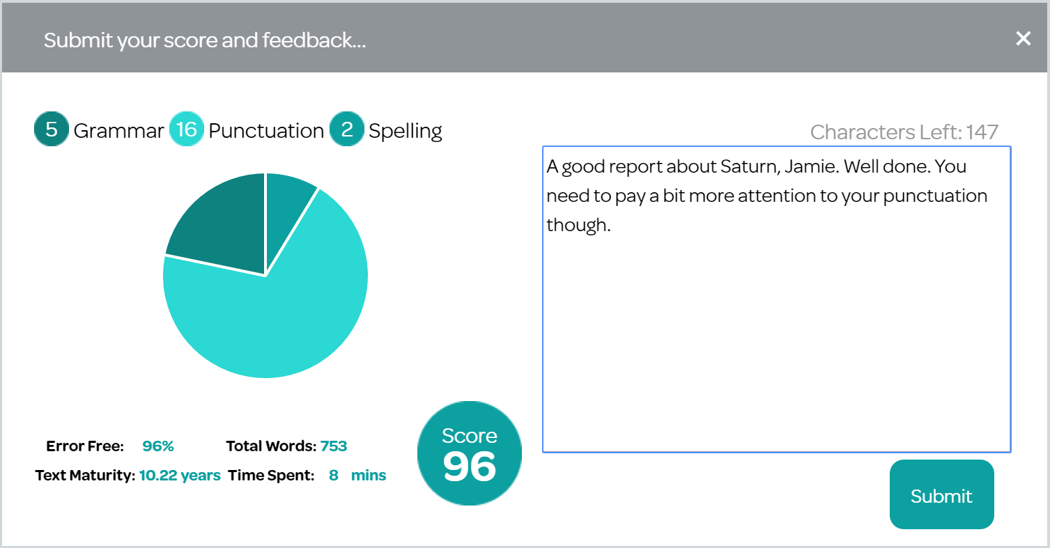 Student feedback screen