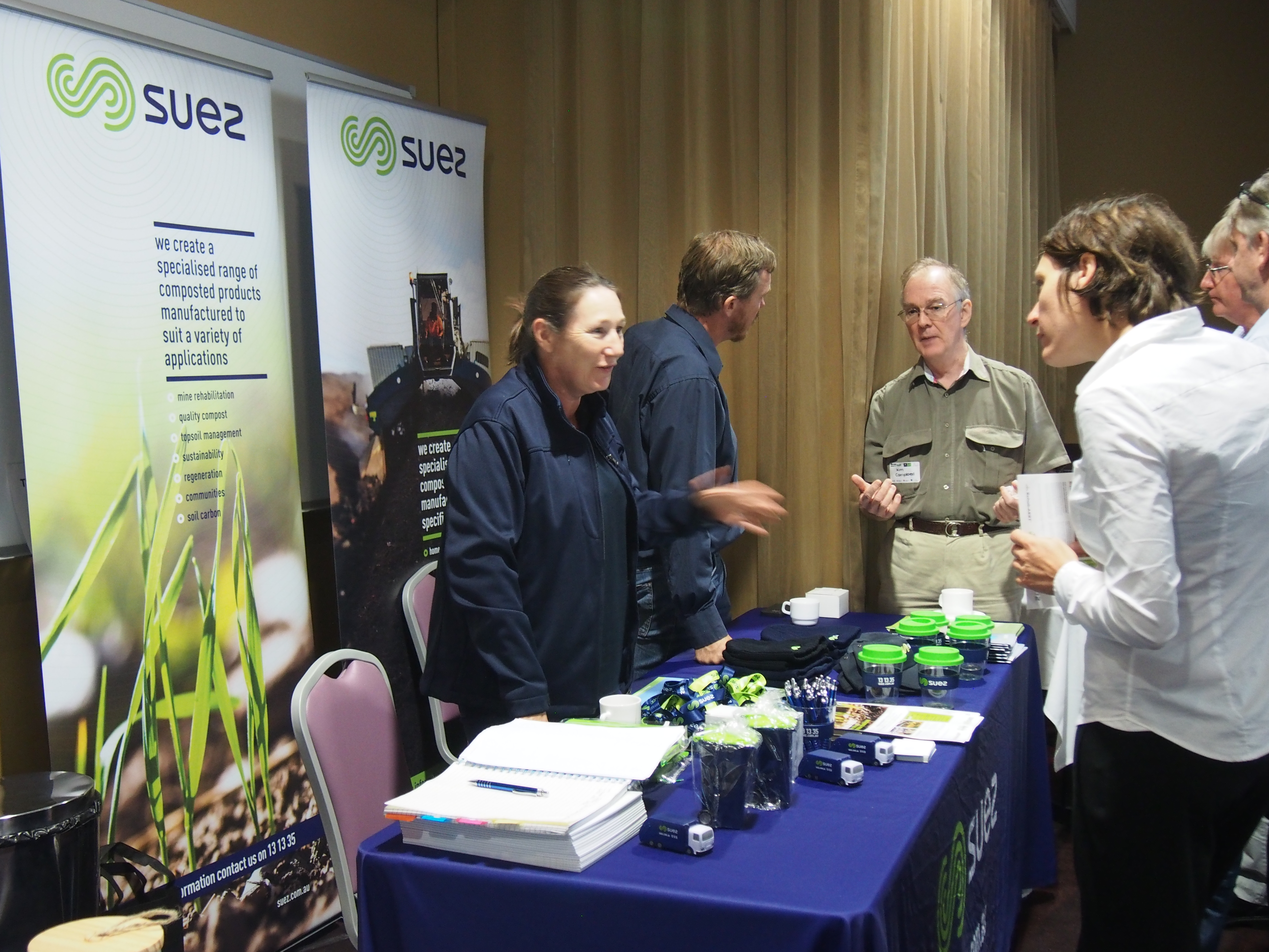 Suez, one of the session sponsors for the conference, pictured here with plenty of promotional give-aways