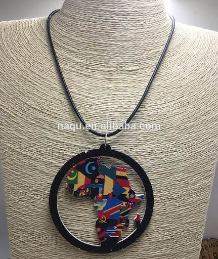 Newest African Map Wooden Pendant Necklace