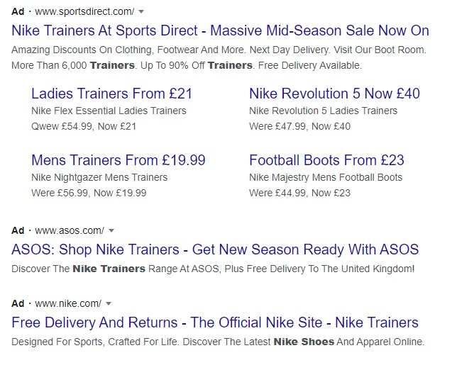 An example of PPC ad results