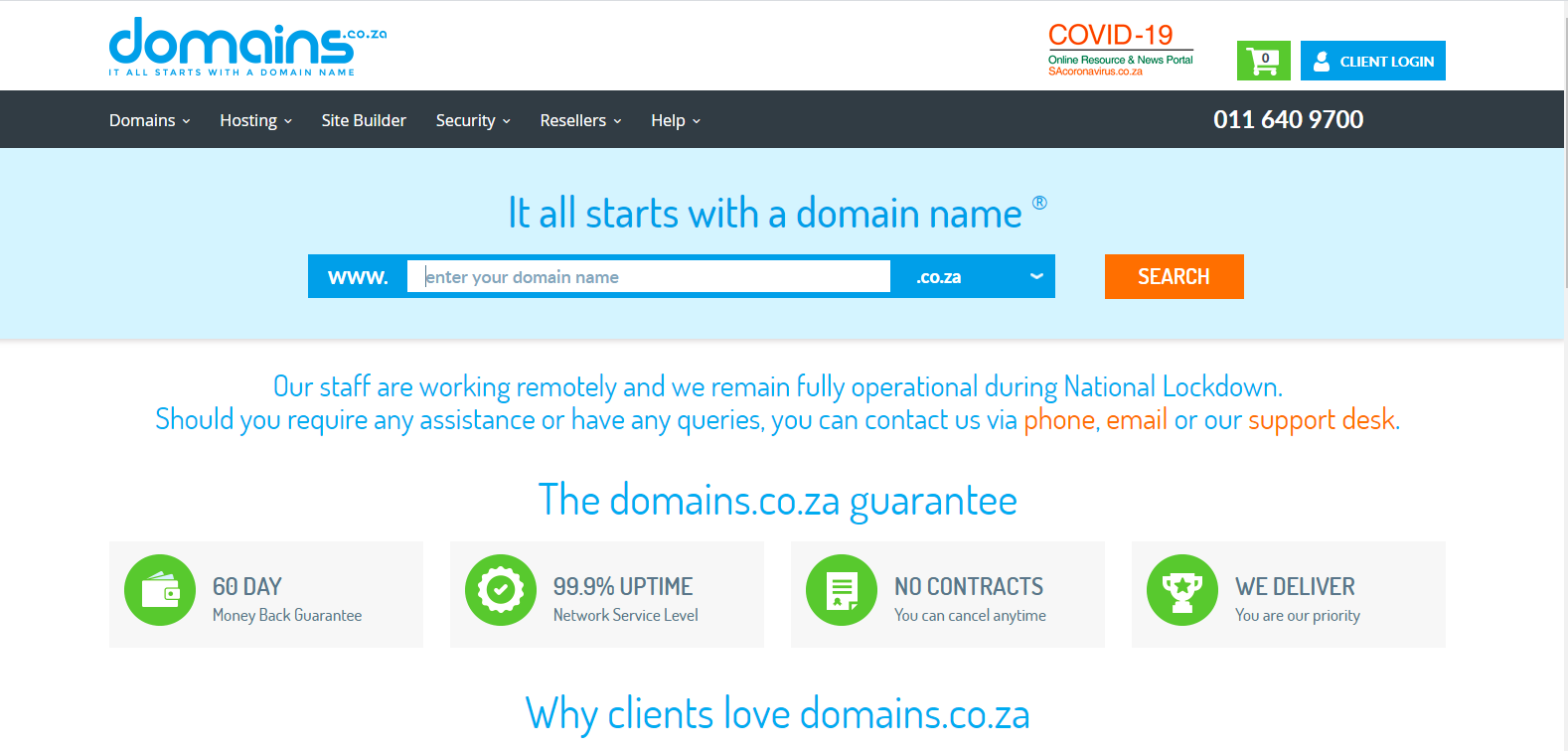 showing domains sa products and services