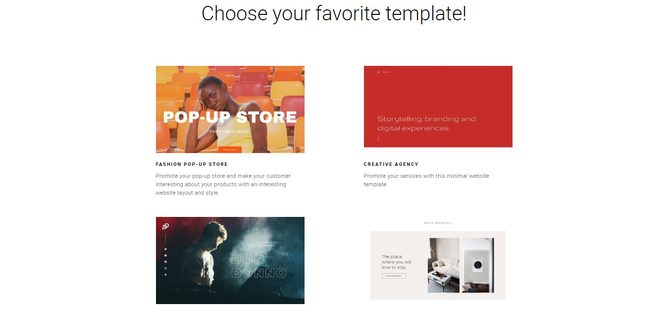 Zyro's selection of available  website templates