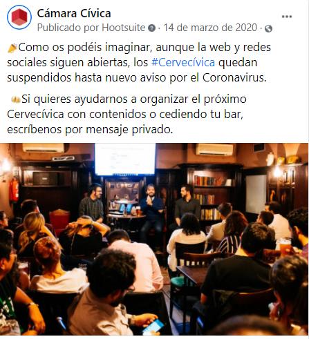 Anuncio oficial de que los Cervecívica se suspenden hasta nueva orden a causa de la pandemia (14 de marzo)