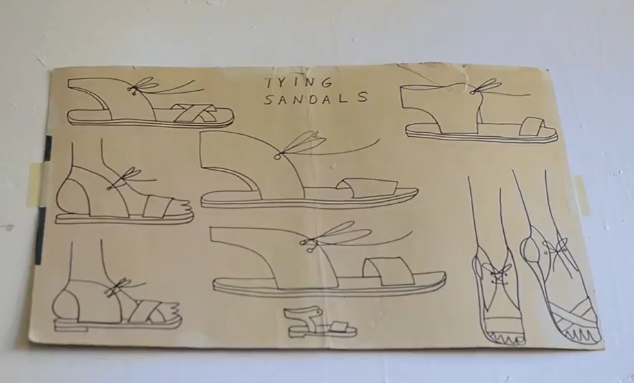 drawings of sandals