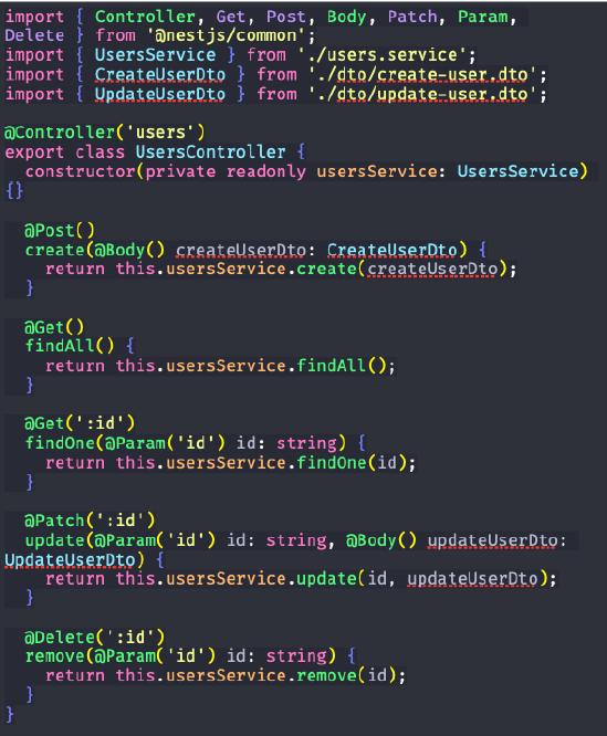 código de edição do controller para aplicação de NestJS