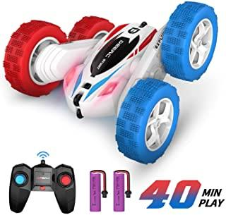 DEERC DE35 RC Stunt Cars Remote Control Car Toys, 4WD Off Road, Dual Color Headlights, Double Sided Rotating,4 Scroll Wheels 360° Flips Vehicles,2 Batteries for 40 Min Play, Gifts for Kids Boys Girls