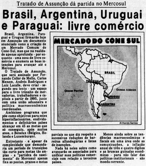 Notícia de jornal sobre a criação do Mercosul, que completa 30 anos em 2021.