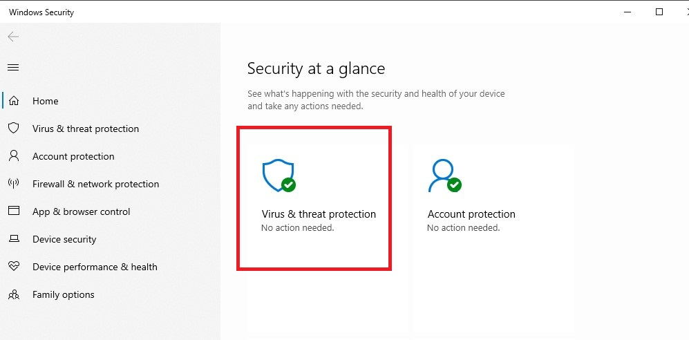 Choose between virus and threat protection.