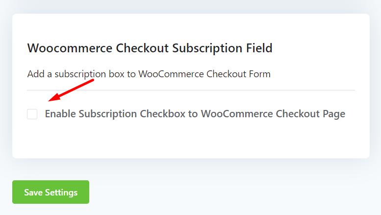 fluentcrm woocommerce subscription checkbox, add woocommerce subscription checkbox