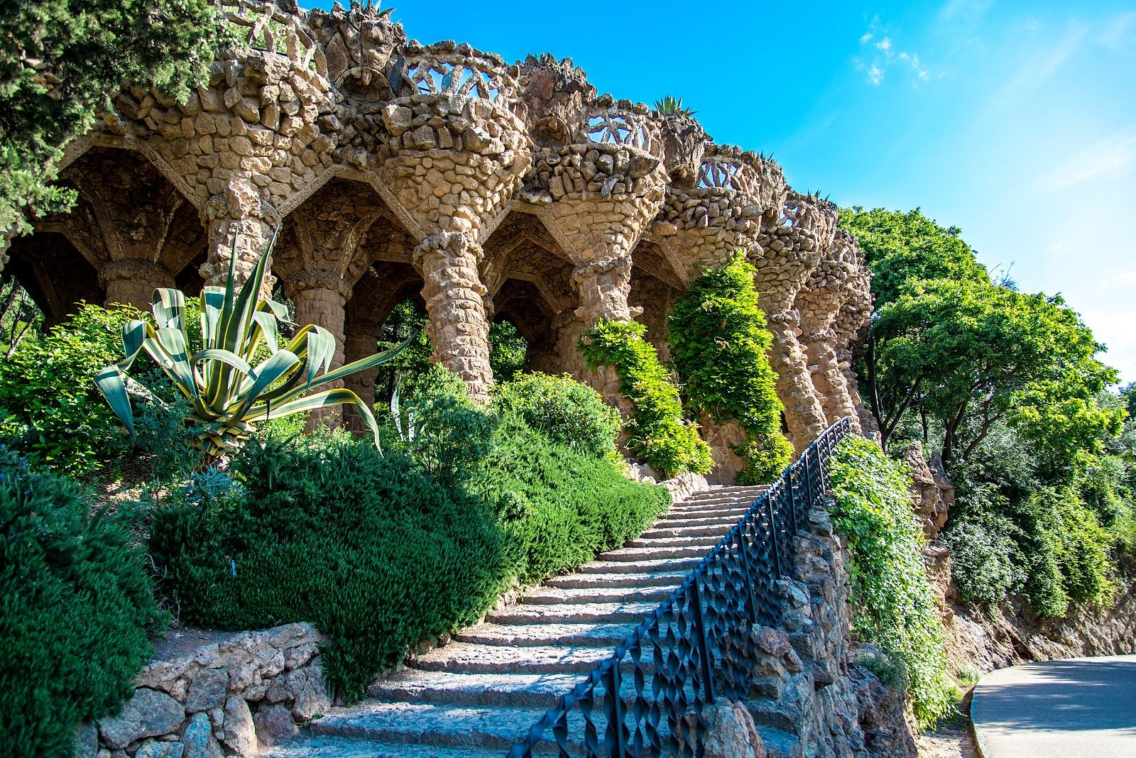 A stairway leading up to one pf Park Guell's viaducts