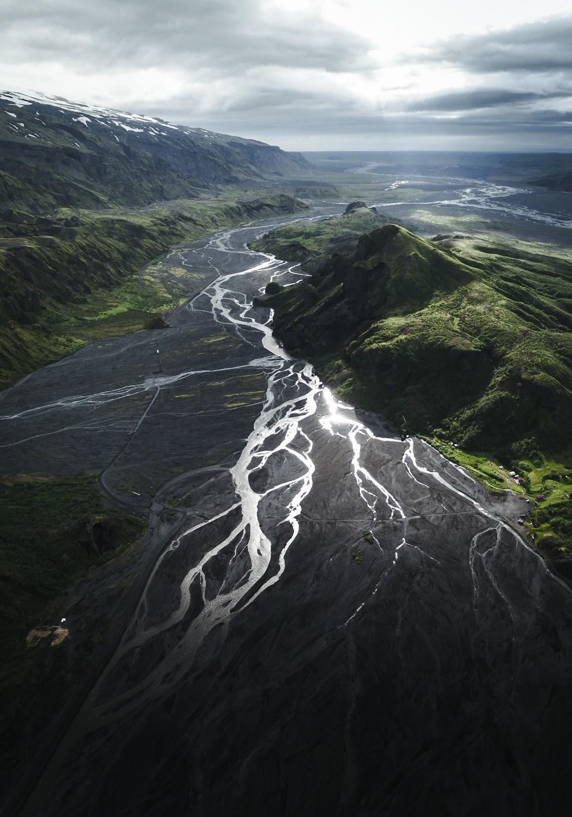 Overseeing Þórsmörk valley from air