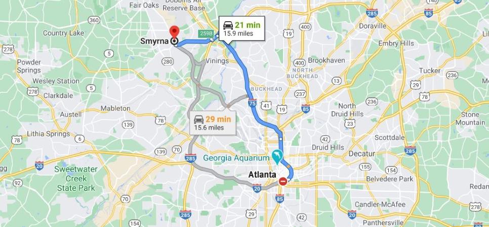 Drive map from Atlanta, GA to Smyrna, GA