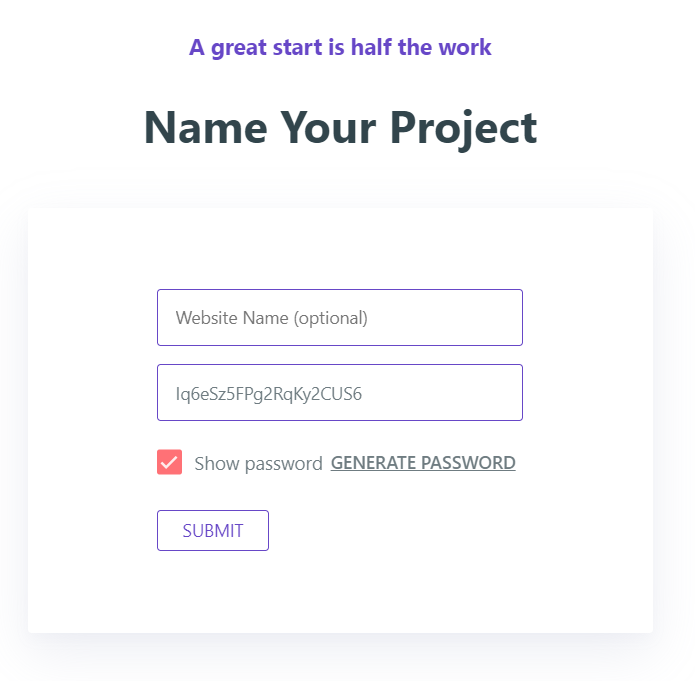 picking your project name on 000webhosting