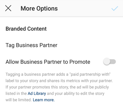 Screenshot of the branded content option on Instagram.