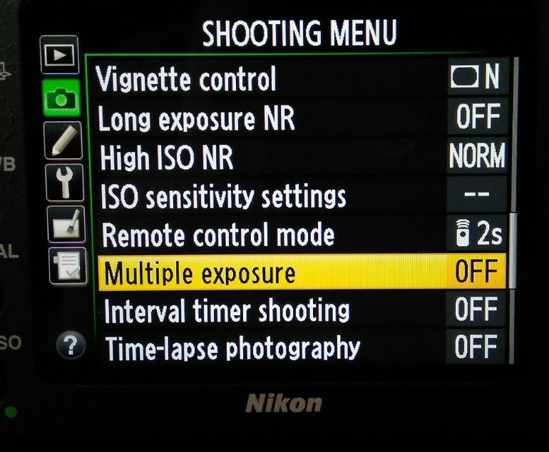 Dupla exposição na câmera - Nikon