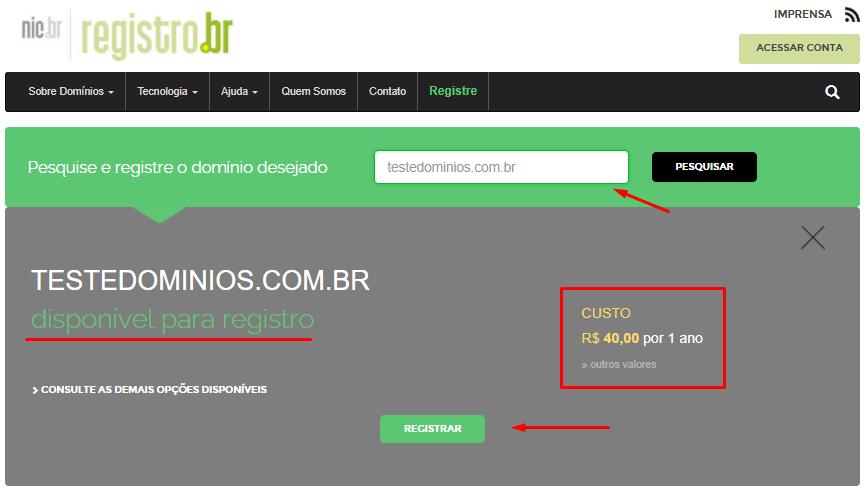 como registrar um domínio no registro.br