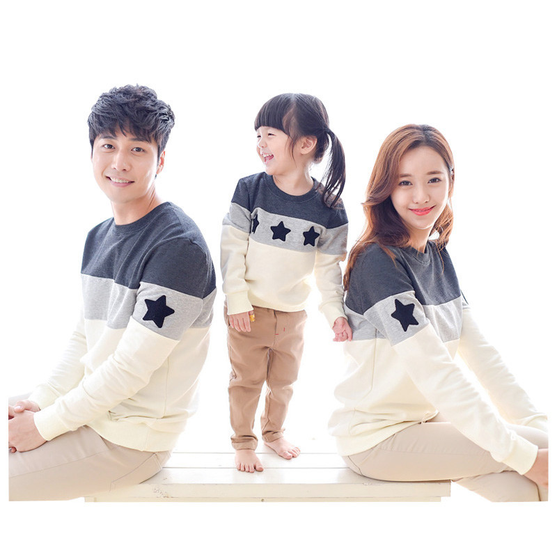 Family Look Mother Father And Me Baby Girls Boys Stars Patchwork Tshirt 1-3