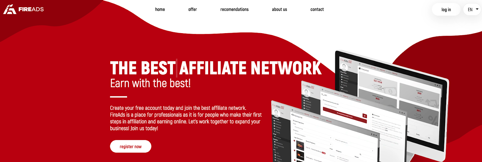 fireads landing page with text about affiliate network and images of computer screens