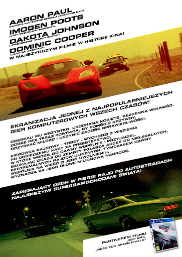 Tył ulotki filmu 'Need For Speed'
