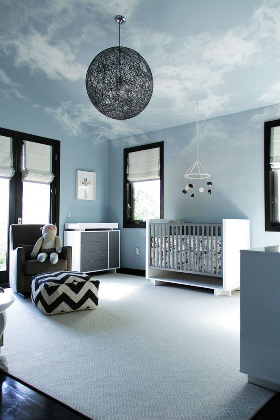 Bring Sky To Your Baby Boy Bedroom With Ceiling Art