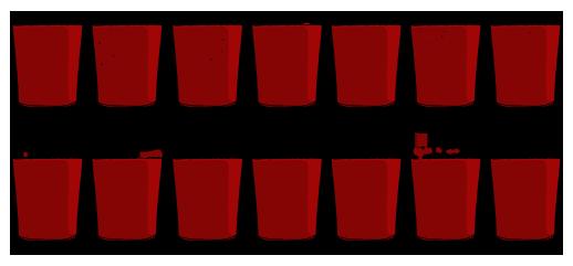 Rysunek przedstawiający 14 szklanek wypełnionych czerwonym płynem.