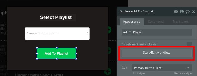 Add to Playlist Button Workflow for Bubble Spotify Music Streaming App