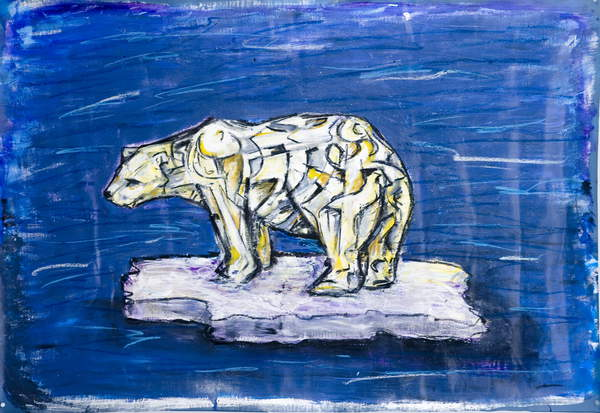 Image of Polar Bear, 2006 (acrylic and mixed media on fabric), Cortada, Xavier / American, Private Collection, 91.4x121.9 cms, study for Endangered World Project; © Xavier Cortada / Bridgeman Images