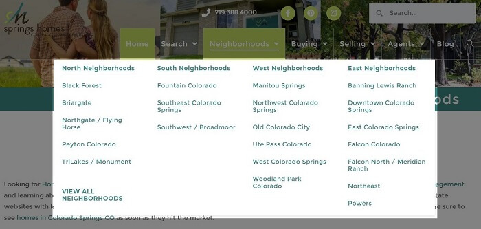Hyper-Local Neighborhood Pages in Real Estate Website Navigation Menu