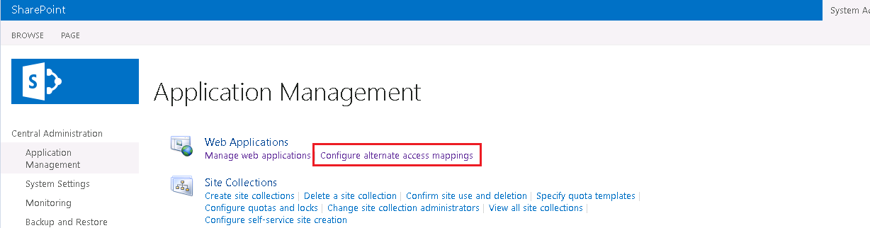 Configure Alternate access mappings