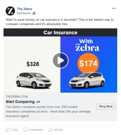 The Zebra ad - strategic copy example 1