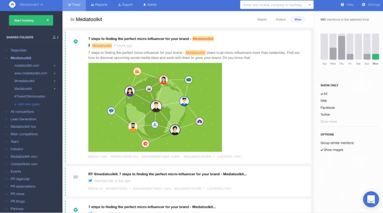 a screenshot of mediatoolkit, a social media monitoring tool
