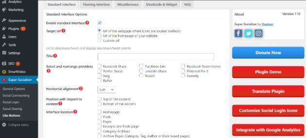 Image of options to tweak in Super Socializer Standard Interface