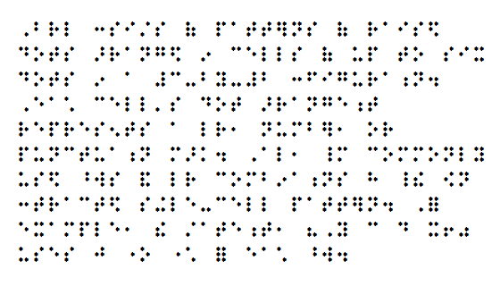 Properly formatted braille dots