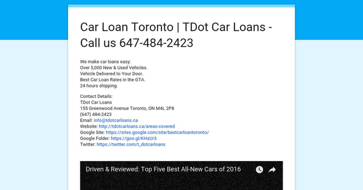 Car Loan Toronto Tdot Car Loans Call Us 647 484 2423