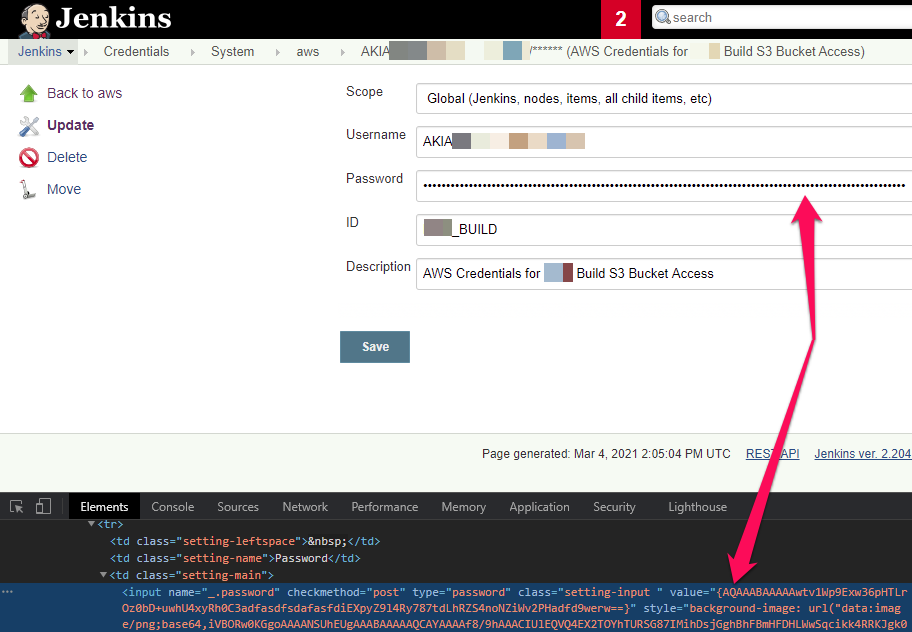 Jenkins page shows scope, username, password, ID, and a description found by White Oak Security pentesting.