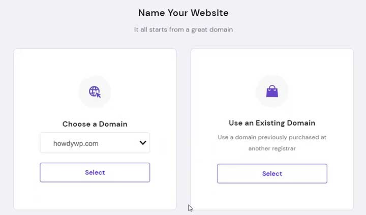 Setup Hosting Account on Hostinger choose domain