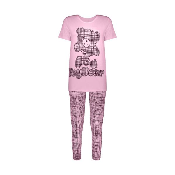 ست تی شرت و شلوار زنانه فمیلی ور طرح خرس کد 0249 رنگ صورتی