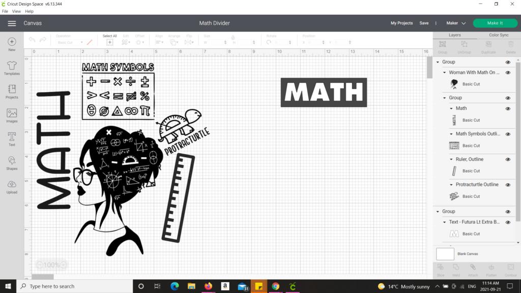 Cricut Design Space showing Math design