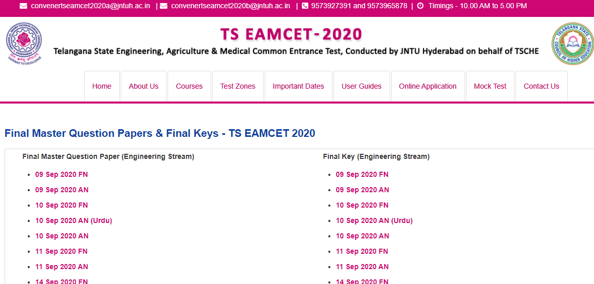 TS EAMCET 2021 Answer Key